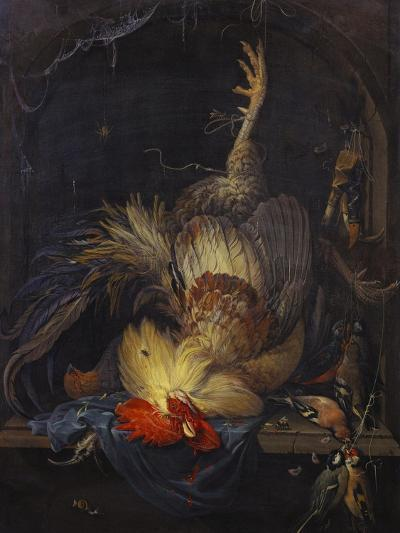 A Cockerel, a Partridge, Powder Horns, a Kingfisher and Song-Birds Hanging in a Niche, with a…-Abraham Mignon-Giclee Print