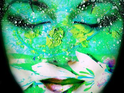 A Collage of Close-Up Portraits Layered with Flowers and Waterdrocps in Mainly Green and Blue Color-Alaya Gadeh-Photographic Print