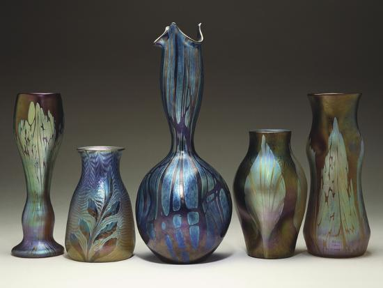 A Collection of Iridescent Glass Vases by Loetz-Adler & Sullivan-Giclee Print