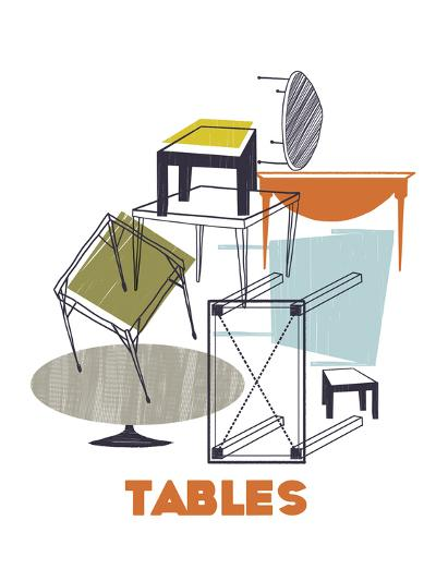 A Collection of Tables-Laure Girardin-Vissian-Giclee Print