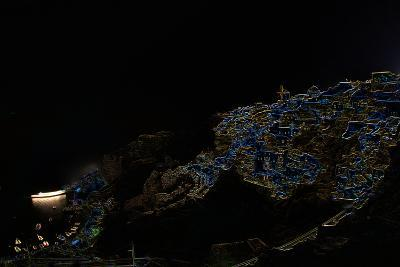 A Color Inverted Composite Image of Santorini Island at Night-Babak Tafreshi-Photographic Print