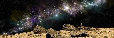 A Colorful Nebula Above a Rocky and Barren Alien World-Stocktrek Images-Art Print