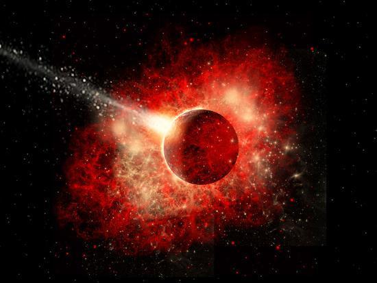 A Comet Hitting an Alien World with Devastating Effect-Stocktrek Images-Art Print