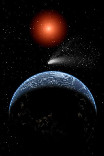 A Comet Passing the Earth on its Return Journey from around the Sun--Art Print