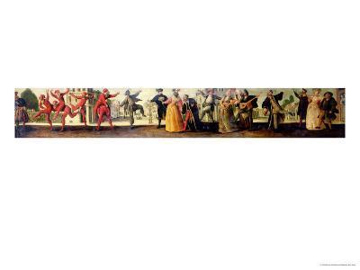 A Commedia Dell'Arte Troupe Before a Renaissance Town-Baccio Del Bianco-Giclee Print