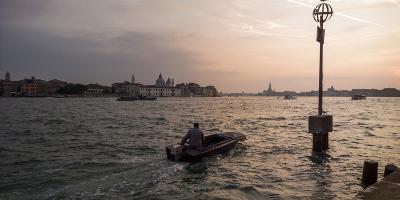 A Commuter on a Boat in the Giudecca Canal-Stephen Alvarez-Photographic Print
