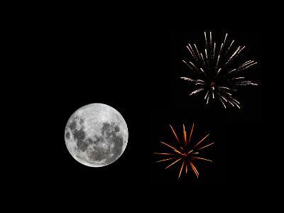 A Composite Image with Fireworks and a New Moon-Stocktrek Images-Photographic Print