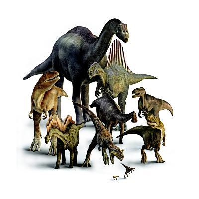 A Composite of Dinosaurs That Lived in the Southern Hemisphere-Pixeldust Studios-Giclee Print