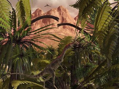 A Compsognathus Treads Carefully Through a Jurassic Jungle-Stocktrek Images-Photographic Print