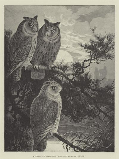 A Conference of Horned Owls, Three Heads are Better Than One-Alexander Francis Lydon-Giclee Print