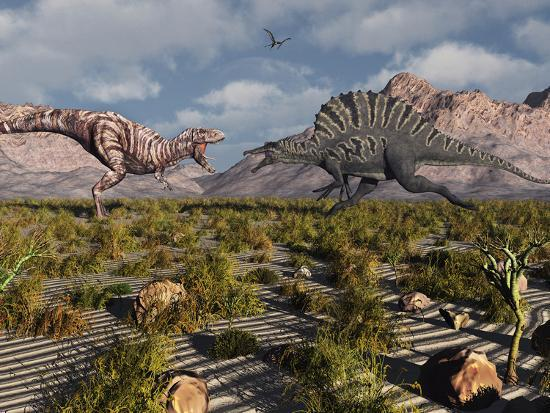 A Confrontation Between a T. Rex and a Spinosaurus Dinosaur-Stocktrek Images-Photographic Print