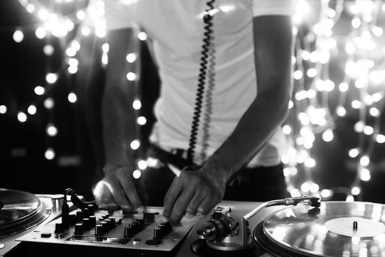 A Cool Male Dj on the Turntables-dubassy-Photographic Print