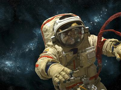 A Cosmonaut Against a Background of Stars-Stocktrek Images-Photographic Print