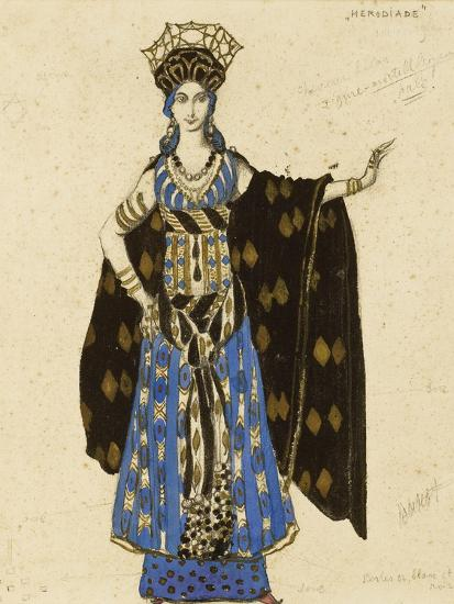 A Costume Design for 'Salome': Herodiade, (Pencil and Gouache, Heightened with Gold)-Leon Bakst-Giclee Print
