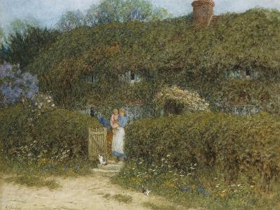 A Cottage at Freshwater, Isle of Wight (Watercolour and Bodycolour Heightened with Scratching Out)-Helen Allingham-Giclee Print