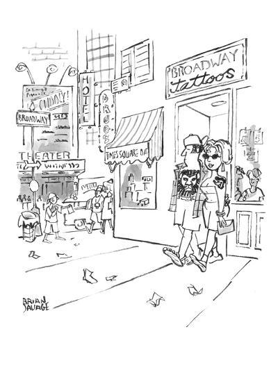 """A couple are coming out of Times Square-area """"Broadway tattoos"""" parlor wit? - New Yorker Cartoon-Brian Savage-Premium Giclee Print"""