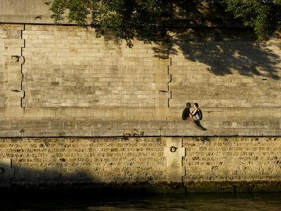 A Couple Sitting on the Bank of the Seine River-Keenpress-Photographic Print