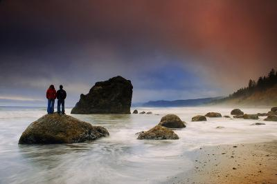A Couple Stands on a Rock at Sunset on Ruby Beach, Olympic National Park, Washington-Keith Ladzinski-Photographic Print