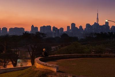 A Couple Watch the Sunset in Praca Do Por Do Sol, Sunset Square, in Sao Paulo-Alex Saberi-Photographic Print