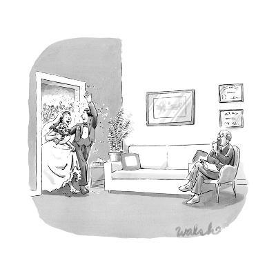 A couple who have just been married, walk through a door with confetti bei? - New Yorker Cartoon-Liam Walsh-Premium Giclee Print