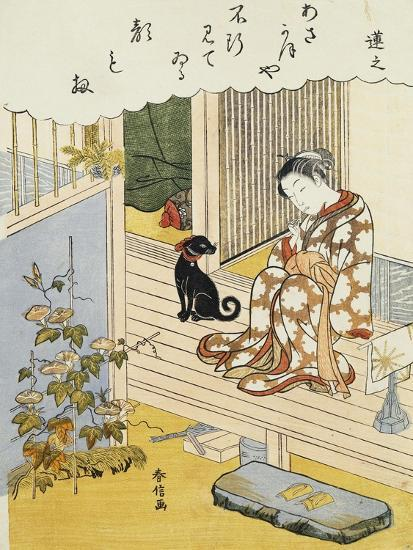 A Courtesan Seated on a Veranda Brushing Her Teeth and Pensively Looking at Flowering Morning Glory- Harunobu-Giclee Print