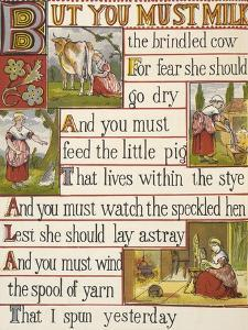 A Cow Being Milked by a Maid. a Nursery Rhyme.