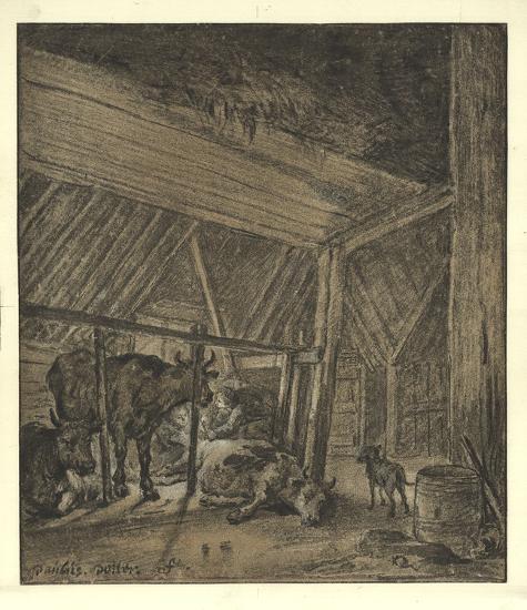 A Cow Calving-Paul Potter-Lithograph