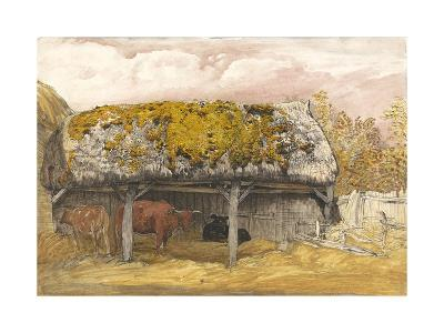 A Cow Lodge with a Mossy Roof, C.1829 (Pen and Ink with W/C and Gouache on Paper)-Samuel Palmer-Giclee Print