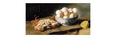 A Crab and a Bowl of Eggs on a Basket, with a Bottle and Half a Lemon-Mary A.		 Powis-Premium Giclee Print