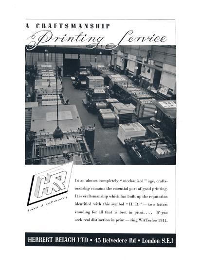 'A Craftsmanship Printing Service - Herbert Reiach Ltd', 1939-Unknown-Photographic Print