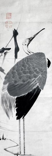 A Cranes Sumi on Paper 1-Jakuchu Ito-Giclee Print