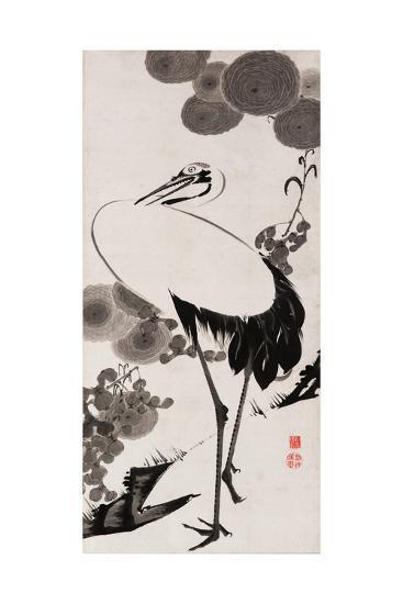 A Cranes Sumi on Paper 2-Jakuchu Ito-Giclee Print