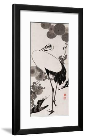 A Cranes Sumi on Paper 2-Jakuchu Ito-Framed Giclee Print