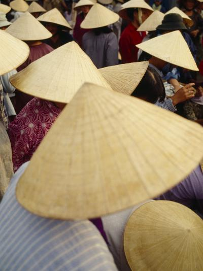 A Crowd of People in Conical Straw Hats at a Wet Market in Hoi An--Photographic Print