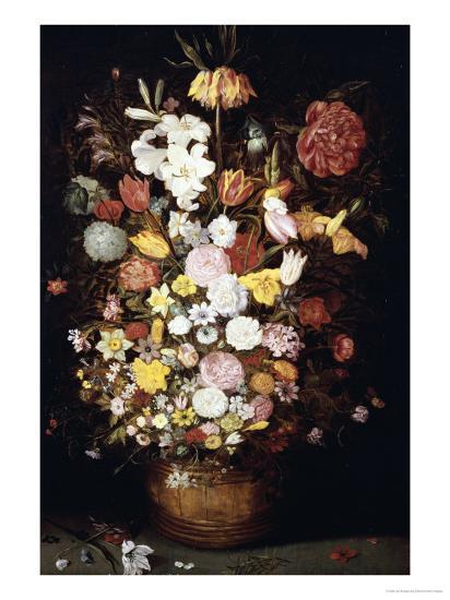 A Crown Imperial, a Peony and Other Flowers in a Wooden Tub with Butterflies and Beetles-Jan Brueghel the Elder-Giclee Print