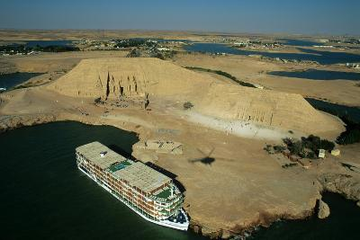 A Cruise Ship on Lake Nasser Near the Great Temple of Abu Simbel-Marcello Bertinetti-Photographic Print