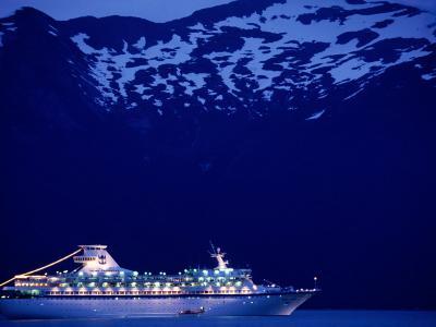 A Cruise Ship on Lynn Canal, Lit Up in the Early Evening, Alaska, Lynn Canal, USA-Mark Newman-Photographic Print