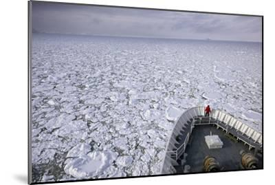 A Cruise Ship Pushes Through the Ice Pack in Grandidier Channel-Jim Richardson-Mounted Photographic Print