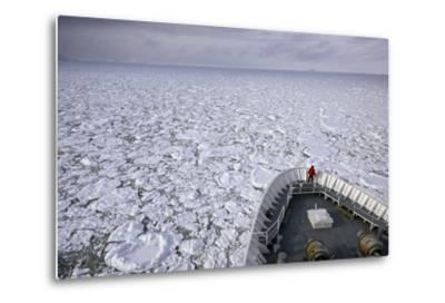 A Cruise Ship Pushes Through the Ice Pack in Grandidier Channel-Jim Richardson-Metal Print