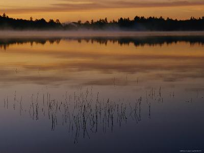 A Curtain of Mist Veils the Surface of Kidney Pond-Phil Schermeister-Photographic Print