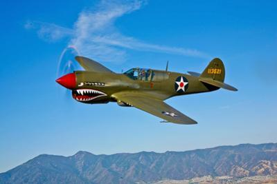 A Curtiss P-40E Warhawk in Flight Near Chino, California