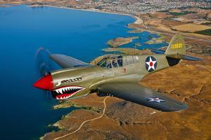 A Curtiss P-40E Warhawk in Flight Near Chino, California