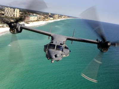 A CV-22 Osprey Aircraft Flies Over Florida's Emerald Coast-Stocktrek Images-Photographic Print
