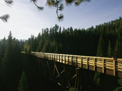 A Cyclist on the Mickelson Trail Bridge which Runs Through the Heart of the Black Hills-Bobby Model-Photographic Print