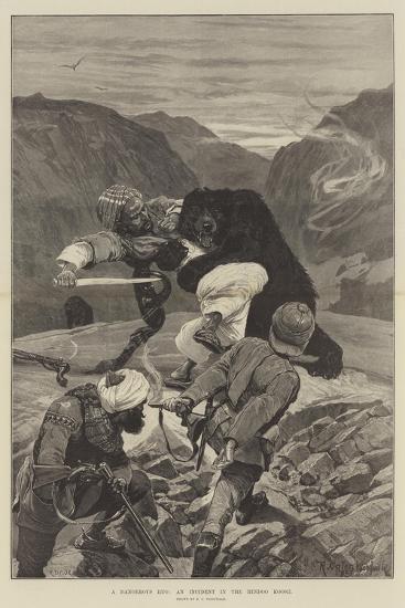 A Dangerous Hug, an Incident in the Hindoo Koosh-Richard Caton Woodville II-Giclee Print