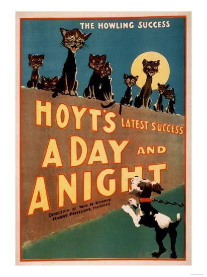 """""""A Day and a Night"""" Cats and Dogs Musical Poster-Lantern Press-Art Print"""