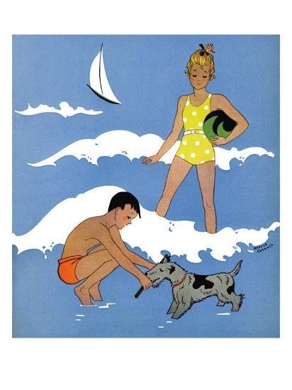 A Day at the Beach - Child Life, August 1939-Harold Carroll-Giclee Print