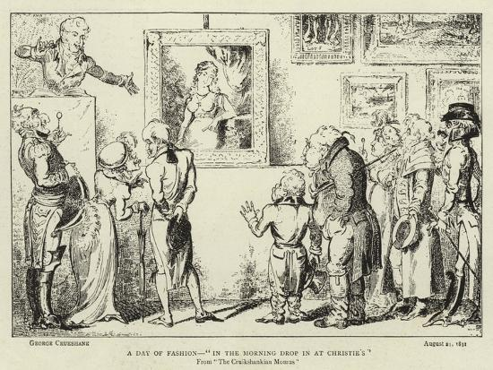 A Day of Fashion, In the Morning Drop in at Christie'S-George Cruikshank-Giclee Print
