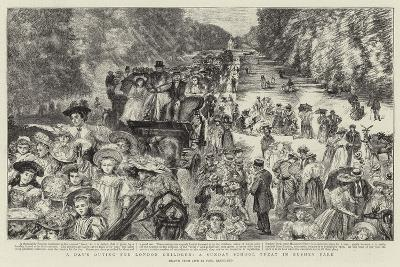 A Day's Outing for London Children, a Sunday School Treat in Bushey Park-Charles Paul Renouard-Giclee Print