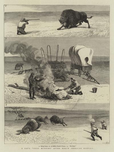 A Day's Still Hunting after North American Buffalo-Samuel Edmund Waller-Giclee Print